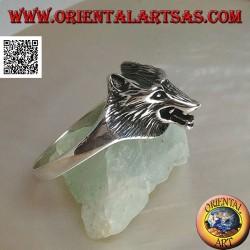 Anello in argento, testa di lupo cecoslovacco a tre quarti (piccola)