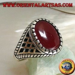 Silver ring with carnelian, and rhombus inlays on the sides