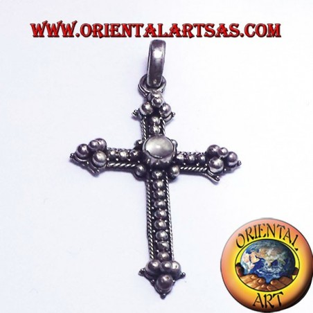 adularia cross pendant with moonstone silver