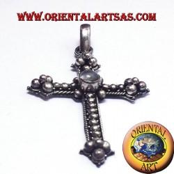 adulaire croix pendentif avec pierre de lune en argent