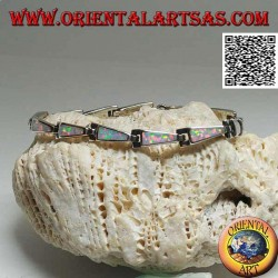 Silver bracelet with 13 isosceles trapezoids elongated in harlequin opal