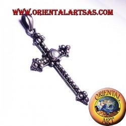 colgante de la cruz de plata con piedra de luna adularia