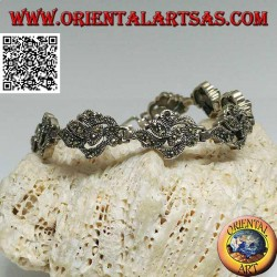 Silver bracelet with 9 intertwining of leaves studded with marcasite