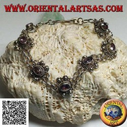 Silver bracelet with two rows of rings with 7 handmade natural oval amethysts