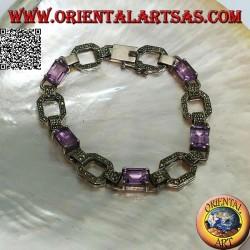 Bracelet en argent serti de 5 améthystes rectangulaires naturelles alternant avec des anneaux en marcassite