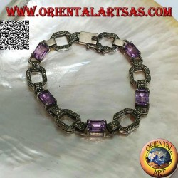 Silver bracelet with 5 natural rectangular amethysts set alternating with marcasite rings