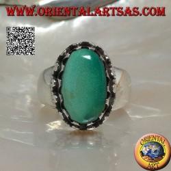 Bague en argent avec turquoise tibétaine antique ovale naturelle sertie de disques à tissage latéral