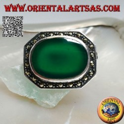 Elongated octagon shaped silver brooch with large oval green agate surrounded by marcasite