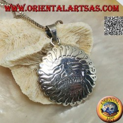 Silver pendant amulet of Mithra, divinity of the sun in Hinduism and the Persian religion