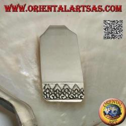 Fermasoldi / Ferma banconote in argento liscio con decorazione in rilievo sulla parte finale