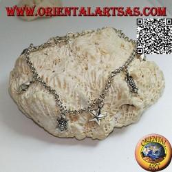 Мягкий серебряный браслет-цепочка с висящими звездами и черепахами