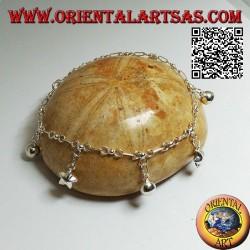 Bracelet chaîne en argent doux avec étoiles et cloches suspendues