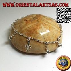 Bracelet chaîne en argent doux avec croix et cloches suspendues