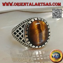 Silver ring with tiger's eye and rhombus inlays on the sides