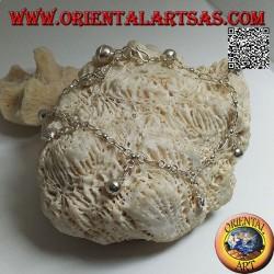 Bracciale in argento morbido a catenella con soli bifacciali e campanelli appesi
