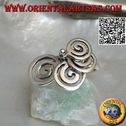 Silver ring with 4 rotating growing spirals
