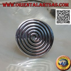 Silver shield ring with large spiral