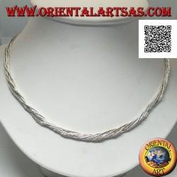 Halskette aus 925 ‰ Silber mit Halsreif, Silberrohre in 7 miteinander verflochtenen Fäden