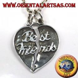 teilbar seitige Herzanhänger in Silber beste Freunde
