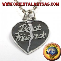 divisible sided heart pendant in silver best friends