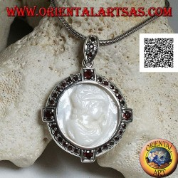 Cameo silver pendant of a young lady on mother of pearl surrounded by garnets