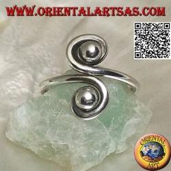 Anillo doble espiral de plata con espejo (ajustable)