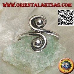 Double spiral mirror silver ring (adjustable)