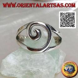 Bague en argent avec fil spiralé central