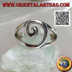 Silver ring with central spiral wire