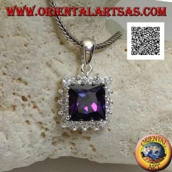 Silver pendant with square amethyst colored zircon set surrounded by white zircons