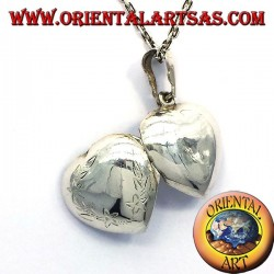 Ciondolo Portafoto cuore intarsiato bombato in argento