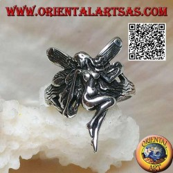 Silver ring, flying fairy in veneration pose