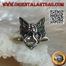 Anello in argento, fata in volo a tre quarti stilizzata