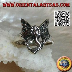 Silver ring, stylized three-quarter flying fairy