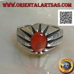 "Silver ring with oval carnelian set with Arabic Islamic writing ""Allah"" and lines on the sides"
