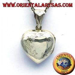 Fotorahmen Herz Anhänger Intarsien gekrümmten Silber