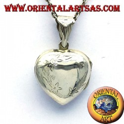 Marco de la foto del corazón colgante de plata incrustaciones de curvado