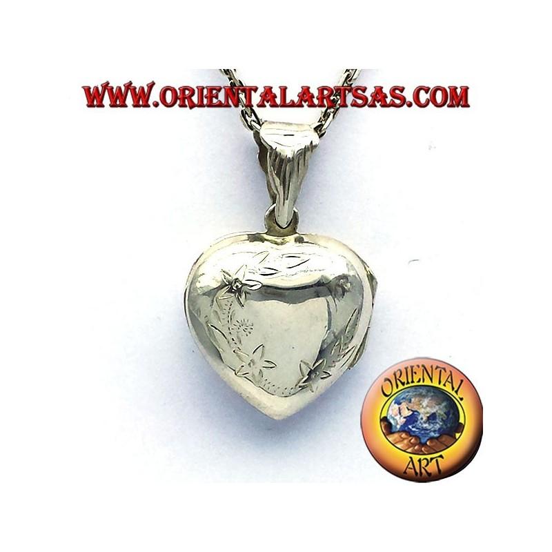 Cadre photo pendentif coeur incrusté d'argent incurvée