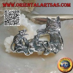 Silver brooch, cat with mice family on the branch
