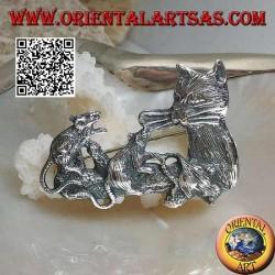 Spilla in argento, gatto con famiglia di topi sul ramo