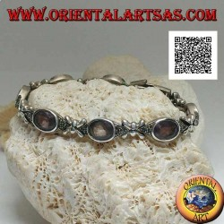 Silver bracelet with 7 marcasite shuttles with central natural oval amethyst alternating with silver crosses