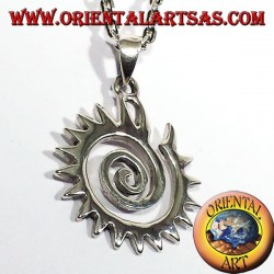 toothed spiral pendant in silver