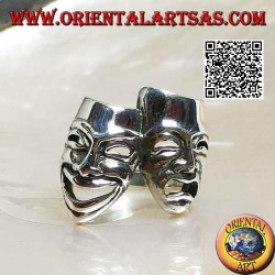 Silver ring theater masks of Greek comedy and tragedy (large)