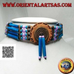 American Indian choker necklace in turquoise leather and bone, black, turquoise and fuchsia beads