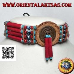 Collier ras de cou amérindien en os couleur corail et perles marbrées noires et bleues