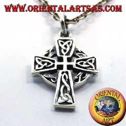 Celtic cross pendant with silver knot