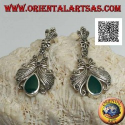 Silver lobe earrings with large bow studded with pendant marcasite and green drop agate