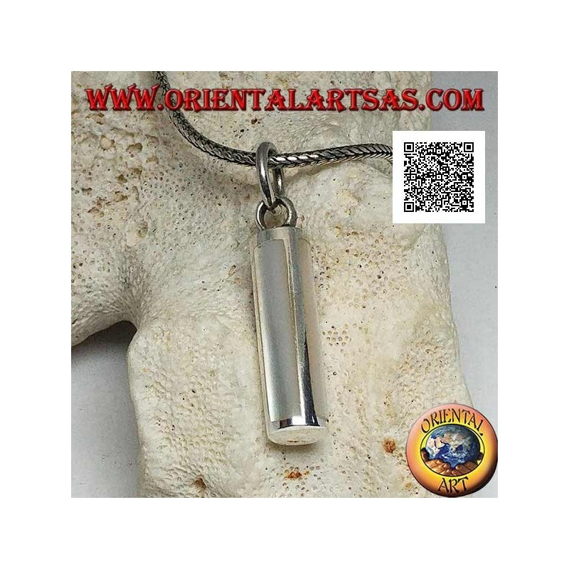 Silver pendant in the shape of a cylindrical section with four rectangular mother of pearls