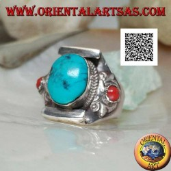 Silver ring with natural Tibetan antique oval turquoise with coral on the sides on a Nepalese setting