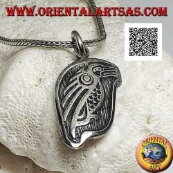 Silver medal pendant with condor (sacred bird of the Inca people) in profile in high relief